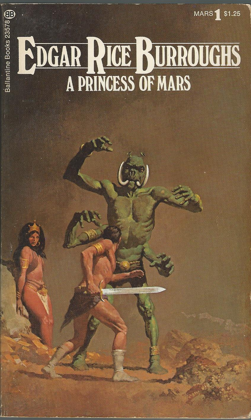 From the Dalenberg Library of Antique Popular Literature, this is the Ballantine paperback edition of A Princess of Mars that I cut my teeth on in my science fictional formative years.The Mars novels were reprinted in 11 volumes starting in 1963. These covers (from the mid-1970's printings) by Gino D'Achille have always been my favorite complete series of the novels. The movie John Carter borrows a bit of its look from these particular paperback covers.
