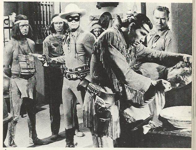 This still from the 1956 Warner Brothers movie of The Lone Ranger features Clayton Moore as The Lone Ranger and Jay Silverheels as Tonto, the duo that has been most identified with the roles. Interestingly, the movie was in theaters while the series was still on television.