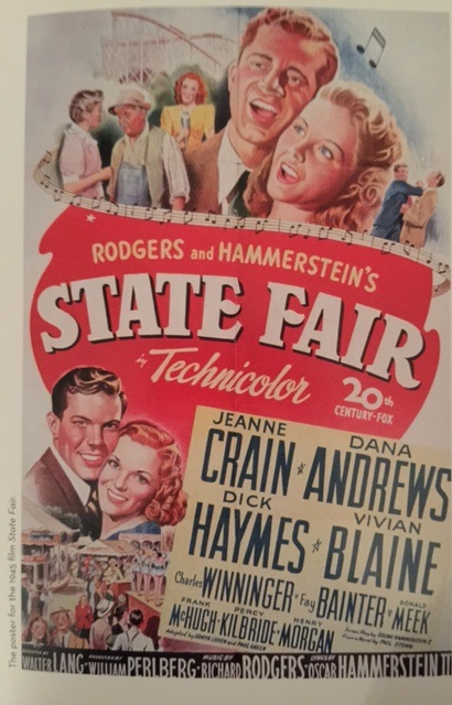 """Twentieth Century Fox presents Rodgers and Hammerstein's """"State Fair"""" Starring Jeanne Crain, Dana Andrews, Dick Haymes, Vivian Blaine, Charles Winninger, Fay Bainter, Donald Meek, Frank McHugh Music by Richard Rodgers, Lyrics by Oscar Hammerstein II, screenplay by Oscar Hammerstein II, from a novel by Philip Stong, adapted by Sonya Levien & Paul Green, produced by William Perlberg Directed by Walter Lang Photographed in Technicolor"""